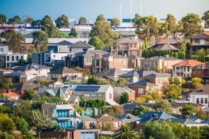 Houses on a hill in the City of Maribyrnong