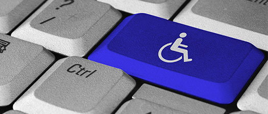 Keyboard with key depicting wheelchair