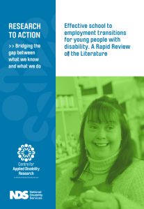 CADR report cover page which reads: Effective school to employment transitions for young people with disability. A Rapid review of literature. Image is of a girl smiling and looking away from the camera.