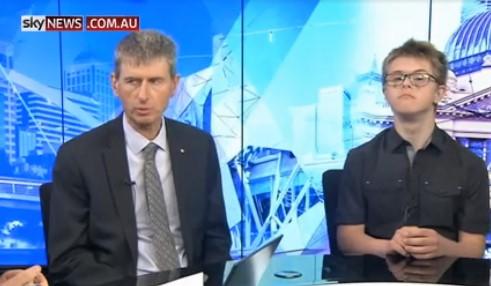 Ken Baker with Julian McAlpine, a Year 11 student on sky news