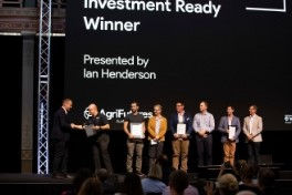 evokeAG Pitch Tent winners on stage