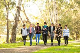 2018 Rural Women's Award finalists walking down a path
